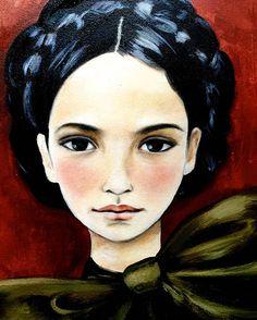 impresión con fondo rojo del arte del retrato de la mujer