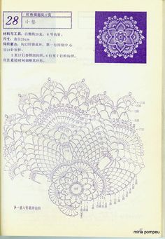 "Photo from album ""Interior crocheted"" on Yandex. Free Crochet Doily Patterns, Crochet Doily Diagram, Crochet Circles, Crochet Motifs, Crochet Chart, Crochet Designs, Crochet Books, Crochet Home, Thread Crochet"