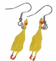 Over 1000 Pairs sold Yes you read that right these are Rubber Chicken Earrings… Weird Jewelry, Funky Jewelry, Cute Jewelry, Unique Jewelry, Handmade Jewelry, Diy Jewelry, Jewlery, Funky Earrings, Rose Earrings