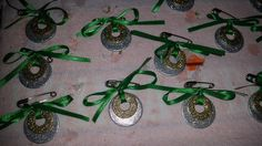 Silver and gold sparkly nail polish and two washers makes a great swap, Christmas ornament or keepsake necklace