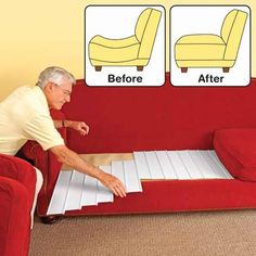 """Furniture Fix™ - 6 Panel Set : Support for Sagging Couches/Chairs. One set of 6 interlocking panels are specially engineered to support heavy use, instantly revitalizing worn out/tired springs. Just place a panel between cushions. Adjustable system fits any depth and length and panels can be staggered for optimum support. Easy to use, no tools or trimming! Each panel: 19"" x 4½"" x ½"". Order 1 set for a chair, 2 sets for a loveseat & 3 sets for a sofa."" (Price $18.99) [www.QciDirect.com]"