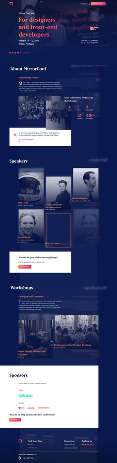 "Long scrolling One Pager for the 2017 'Mirror Conf' to be held in Braga, Portugal. The Single Page website features an interesting ""mirrored content"" blurred background effect to tie in with the branding.. If you're a user experience professional, listen to The UX Blog Podcast on iTunes."