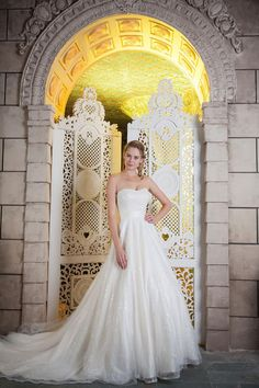 R936 HERMIONE.  Subtle sequin sparkle! We love this ivory gown, perfect for those we can a little glitz but nothing too much!