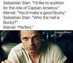 Sebastian Stan I'd Like to Audition for the Role of Captain America Marvel You'd Make a Good Bucky Sebastian Stan Who the Hell Is Bucky? Marvel Perfect AvengersMemes He Was Meant to Be the Winter Soldier 😂 Avengers Humor, Funny Marvel Memes, Dc Memes, Marvel Jokes, Marvel Avengers, Avengers Cast, Marvel Dc, Marvel Actors, Marvel Characters