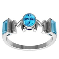Orchid Jewelry Sterling Silver Blue Topaz 'Mom' Ring