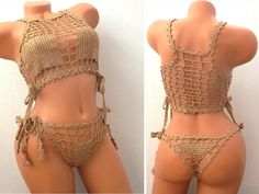 Women Swimsuit, Crochet Bikini Swimsuit, See Through Lingerie, Golden Lingerie, Women Lingerie, Cheeky Bikini, Beach Swimsuit, Sexy Bikini by MartimaHandMade on Etsy