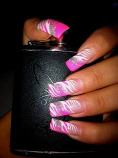 Pink and white hand-painted nail art