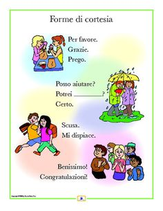 Italian Courtesies Poster - Italian, French and Spanish Language Teaching Posters | Second Story Press