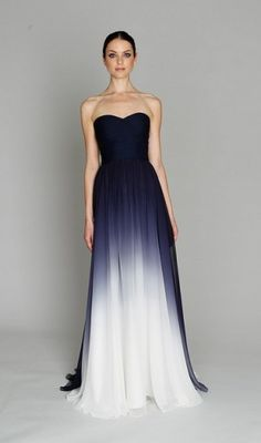 Navy ombre gown for a bridesmaid dress Ombre Gown, Mode Boho, Chiffon Gown, Chiffon Beading, Silk Dress, Monique Lhuillier, Beautiful Gowns, Gorgeous Dress, Simply Beautiful