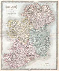 Map of Ireland 1850.