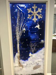 Christmas door decorating contest. Winter wonderland. Woodland creatures.