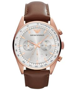 Emporio Armani Men s Brown Silver Leather Watch Stitched leather band  complements a stainless steel case with chronograph function 5e0c1d31419