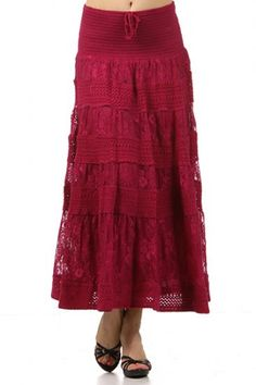 100 percent Polyester 1S/1M/1L/1XL Per Pack Magenta (shown), Navy This HIGH QUALITY skirt is VERY CUTE! Can also be worn as a strapless dress, this smocked, a-line lace skirt with inset lining and a front tie detail is hand washable, and fits true to size.