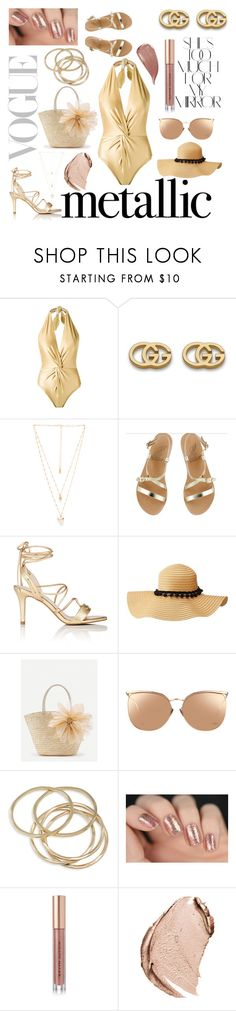 """""""metallic swimwear- gold"""" by que2001 ❤ liked on Polyvore featuring Martha Medeiros, Gucci, Natalie B, Ancient Greek Sandals, Barneys New York, Charlotte Russe, WithChic, Linda Farrow, ABS by Allen Schwartz and Kevyn Aucoin"""