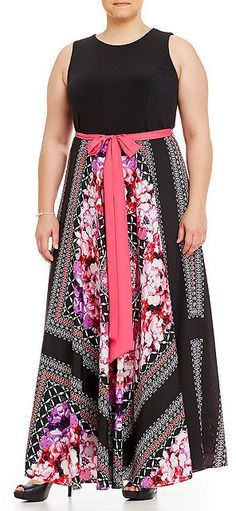 Plus Size Scarf-Print Maxi Dress