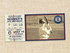 Vintage baseball picture invites love this hoping I can recreate them!