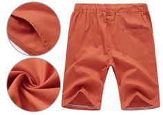 2017 Linen Shorts High Quality Beaded Drawstring Men's Casual Beach - Orange - Shorts