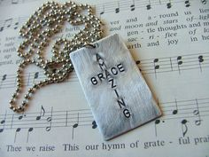 Amazing Grace Custom Hand Stamped Cross Image Dog Tag Necklace by MyBella  https://www.facebook.com/MyBellaByLizLollar#!/MyBellaByLizLollar
