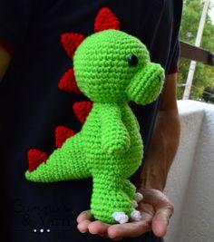 CROCHET PATTERN - Tim the Friendly Dinosaur - 10 in. tall