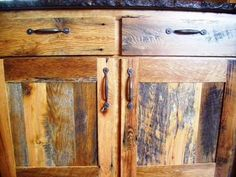 Reclaimed skip planed gray board cabinets and drawers. #reclaimedlumber http://www.eaglereclaimedlumber.com