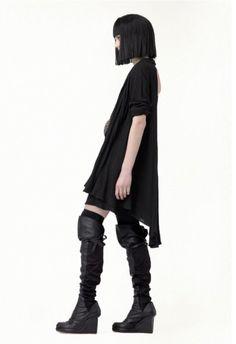 future fashion, black clothing, hairstyle, shoes, futuristic fashion