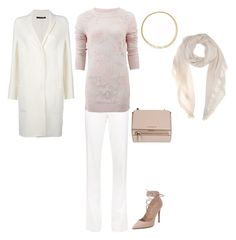 """FW D PANTS, SWEATER, SCARF, COAT, PUMPS - WHITE, LIGHT ROSE"" by laliquemurano on Polyvore featuring Ralph Lauren Collection, Odeeh, Ermanno Scervino, Valentino, Givenchy, Marco Bicego and Loro Piana"