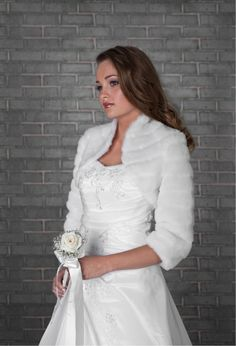 WEDDING WHITE FAUX FUR SHRUG BRIDAL BOLERO JACKET COAT S M L XL -B28