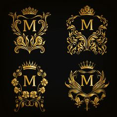 M letter logo set, estilo vitoriano Veto. Lettering Styles, Lettering Design, Hand Lettering, Logo Design, Graphic Design, Letter Logo, Letter Art, Alphabet Letters Design, M Letter Design