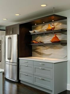 Contemporary Kitchens from Lauren Levant Bland on HGTV Limestone backsplash, 2 colors of cabinets