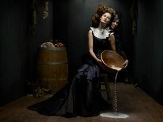 """""""Cockaignesque"""" by German photographer Helen Sobiralski is a lush photo series inspired by Baroque still-life paintings. For more of her photography, see Photography Portfolio, Editorial Photography, Fine Art Photography, Fashion Photography, Baroque Painting, Baroque Art, Fashion Fotografie, Kreative Portraits, Tableaux Vivants"""