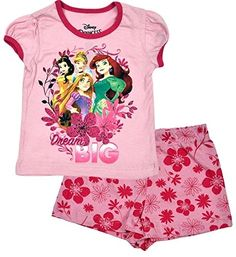 Disney Princess Little Girl's Toddler Dream Big Shorts Set Short-sleeve tee with princess sleeves and coordinating trim. Couple Outfits, Disney Outfits, Girl Outfits, Disney Clothes, Disney Shirts, Kids Girls, Little Girls, Toddler Girls, Tinkerbell Outfit