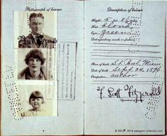 Zelda Sayre Fitzgerald and F. Scott Fitzgerald The Fitzgeralds' Passport, Then, F. Scott Fitzgerald by Harrison Fisher, National Por. Scott And Zelda Fitzgerald, Writers And Poets, Scottie, Famous Artists, Vintage Photographs, Gatsby, 1920s, Flappers, Books