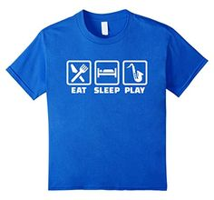 Youth large  Kids Eat sleep play Saxophone T-Shirt 12 Royal Blue Great...