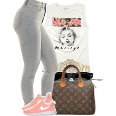 A fashion look from October 2014 featuring Forever 21, light blue high waisted jeans and nike footwear. Browse and shop related looks.