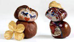 Basteln mit Naturmaterialien: lustige Figuren aus Kastanien
