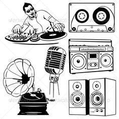 Vector Set of Music Objects  #GraphicRiver         Vector set of music objects   file types: jpg, eps     Created: 31August13 GraphicsFilesIncluded: JPGImage #VectorEPS Layered: No MinimumAdobeCSVersion: CS Tags: AudioCassette #audio #boombox #cartoon #clipart #comics #dancing #design #disco #dj #draw #gramophone #hip-hop #icon #illustration #lineart #microphone #musicicons #oldfashioned #party #radio #rap #recordingstudio #retro #silhouette #sound #speakers #taperecorder #turntable #vector