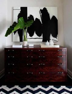 wood dresser with silver hardware