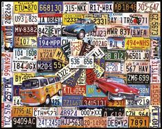 """License Plates Jigsaw Puzzle by White Mountain Puzzles.  Artist: Charlie Girard : Item: 961 : 1000 piece jigsaw puzzle: Finished size 24"""" x 30""""  $15.95"""