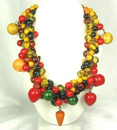 Hattie Carnegie Vintage Chunky Bakelite Fruit Necklace