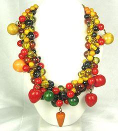 Hattie Carnegie Vintage Chunky Bakelite Fruit Necklace