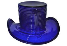 Cobalt Glass Hat 1930s Ice Bucket - Cambridge cobalt blue glass hat ice bucket in the Tally-Ho pattern, circa 1932. Can also be used as a vase. Ribbing climbs the body with chevron designs on polar sides.