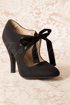 Coco Shoes - 40s Hailee Pumps in Black Suedine