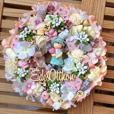 Ajtódísz Summer Wreath, Floral Wreath, Banner, Valentines, Wreaths, Homemade, Spring, Crafts, Beautiful
