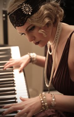 Flapper girl playing Piano by ChrixDesign