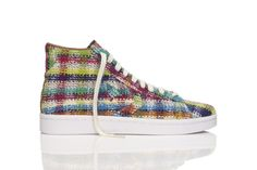 Missoni and Converse have teamed up to create an awesome new collection of Converse. They are celebrating craftsmanship, authenticity and collaboration at the highest level. Artist Gary Card created this collection of 20 sneaker incorporating dead stock fabric from the Missoni archives that are weaved with colorful yarns to create a unique shoe.  -Merrill Worlund