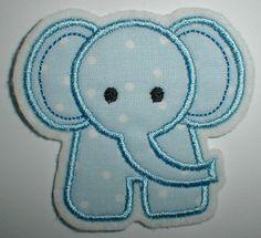 Aufnäher - blauer Elefant -  Applikation von STICKTRAUM auf DaWanda.com
