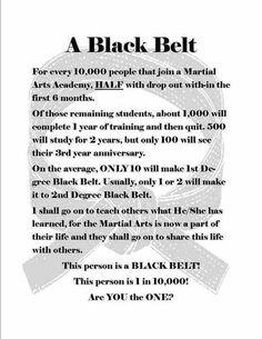 black belt is a white belt that never quit. Train, train, train, train, and train some more. Everyday push yourself hard to be better Taekwondo Quotes, Taekwondo Girl, Black Belt Taekwondo, Martial Arts Quotes, Ju Jitsu, Martial Arts Training, Brazilian Jiu Jitsu, Aikido, Inspirational Quotes