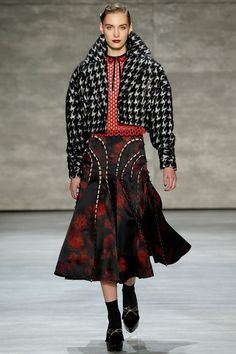 Zimmermann | Fall 2014 - Round shouldered cropped jacket with paneled midi. Flattering proportions.