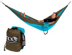 WISH LIST ITEM (click through to purchase): SingleNest Hammock (in teal/khaki) from Eagles Nest Outfitters Inc. - Lightweight Outdoor Parachute Nylon Hammocks along with optional Slap Straps Hammock Suspension (buy the straps too!).