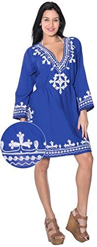 LA LEELA Womens One Size Caftan Dress Kaftan Cover Up Sleepwear Tops Short Midi